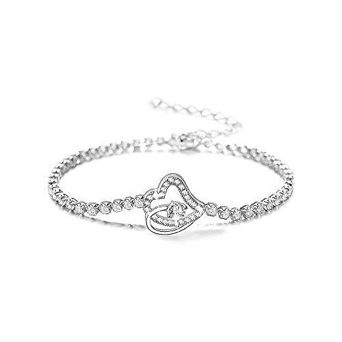 Ranikeer Herz Armband Damen, Herz zu Herz Design, Eleganter Modeschmuck für Frauen, Perfektes Geschenk zum Geburtstag Weihnachten Valentinstag
