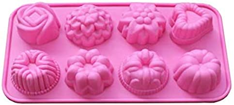 8 Cavity Silicone Flower Soap Mold Candy Molds Chocolate Molds Mixed Flower Shapes Cake Mold Cupcake Backing mold Muffin p...