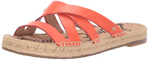 Sam Edelman Women's Averie Sandal, Vibrant Orange Leather, 8 M covid 19 (Orange Leather Footwear coronavirus)