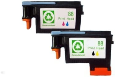 INKTONER 2PK remanufactured HP88 (C9381A)Black/Yellow and (C9382A)Cyan/Magenta Top quality pinthead