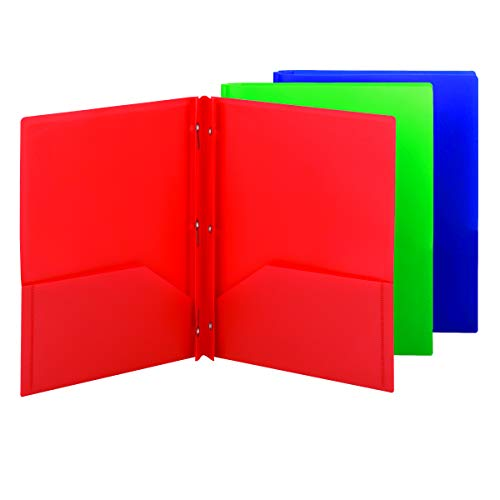 Smead Poly Two-Pocket Folder with Tang Style Fasteners, Letter Size, Assorted Colors, 6 per Pack (87745)