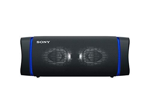 Sony SRS-XB33 tragbarer, kabelloser Bluetooth Lautsprecher (Mehrfarbige Lichtleiste, Lautsprecherbeleuchtung, wasserabweisend, Extra Bass), schwarz