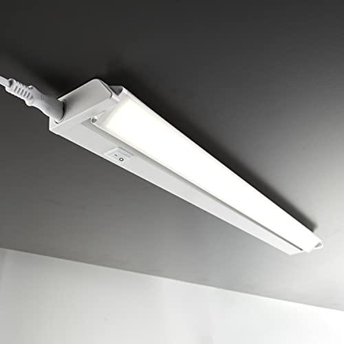 B.K.Licht - Lámpara fluorescente LED giratoria para armarios y cabinetes, de luz blanca neutra, iluminación bajo mueble con interruptor de luz, 8,5 W, 4000 K, 1000 lm, color blanco