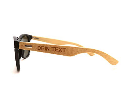 Personalisierbare Sonnenbrille Bambus-Holz-Bügel mit Laser-Gravur und urigen Sprüchen auf Öko-Material Hochwertige polarisierte Gläser mit UV Schutz 400 (Personalisierbar) perfekte Geschenkidee