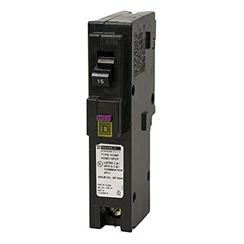 Square D by Schneider Electric HOM115PDFC Homeline Plug-On Neutral 15 Amp Single-Pole Dual Function (CAFCI and GFCI) Circuit Breaker,