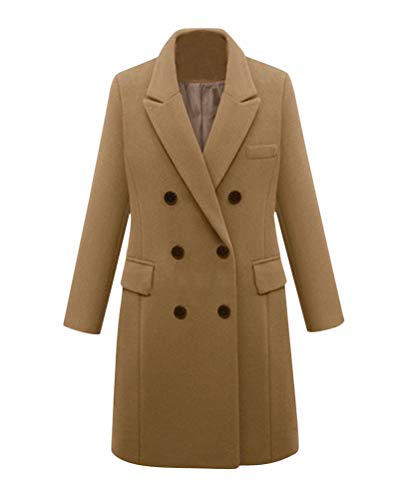 Minetom Damen Winter Revers Wollmantel Trench Jacke Lange Parka Overcoat Outwear Khaki 36