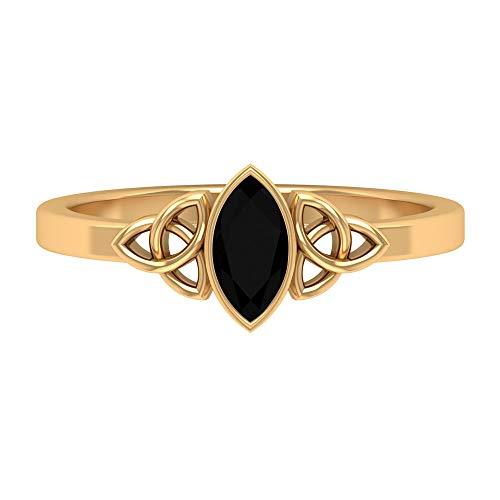 Anillo de nudo celta, 1/2 CT, anillo de diamante negro creado en laboratorio, anillo solitario (7 x 3,5 mm, talla marquesa, 14K Oro amarillo, Size:EU 47