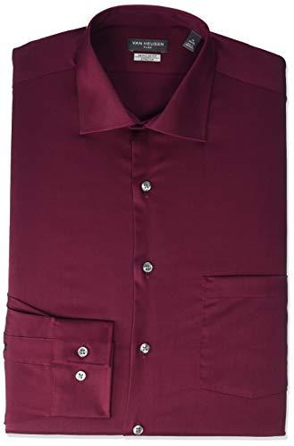 Van Heusen mens Regular Fit Flex Collar Stretch Solid Dress Shirt, Mulberry, 16.5 Neck 32 -33 Sleeve Large US