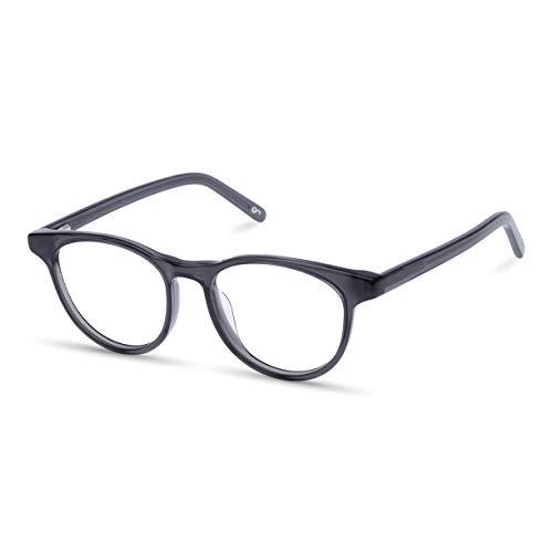 Gleitsichtbrille, Personalisierte Brille mit Sehstärke (Zusendung Brillenpass), hochwertige Verarbeitung, aus Acetat und Metall, für Kurzsichtigkeit und Weitsichtigkeit, Unisex, Blaulichtschutz