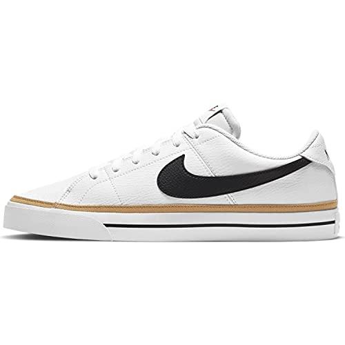 Nike Court Legacy, Zapatos de Tenis Hombre, White/Black-Desert Ochre-Gum Light Brown, 48.5 EU