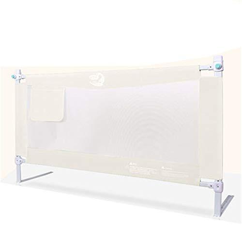 Rails de lit pour Enfants Garde-corps pour lit élévateur vertical pour enfants, réglage multi-rangs avec sac de rangement, garde-corps pour lit anti-chute pour tout-petit - 180 cm / 200 cm - Blanc crè