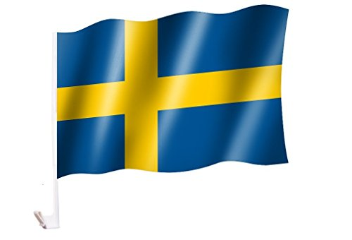 2 Stück/1 Paar Autoflagge/Autofahne Schweden / Sverige / Sweden - Fahne / Flagge für Auto 2x - car flag