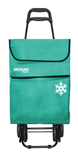 Bastilipo Verde Agua Julia Carro de la Compra de 4 Ruedas Plegables con Bolsa térmica, Lona, Capacidad 50 litros