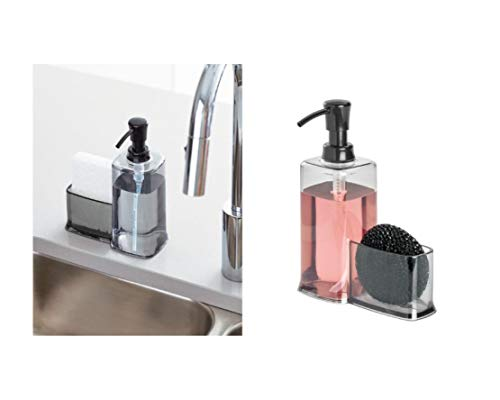 Price comparison product image iDesign Sink Tidy with Soap Dispenser and Sponge Holder,  Plastic Kitchen Organiser with Dispenser for Liquid Soap and Holder for Sponges,  Grey