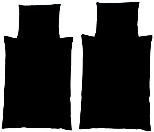 4-Teilige hochwertige Renforcé-Bettwäsche UNI-WENDE in schwarz einfarbig 2x 135x200 Bettbezug + 2x 80x80 Kissenbezug , 100{40360529f676a8ea9d7e29fd1958814e0b7ba0bc0da81d5779317bda68670315} Baumwolle (Schwarz einfarbig)