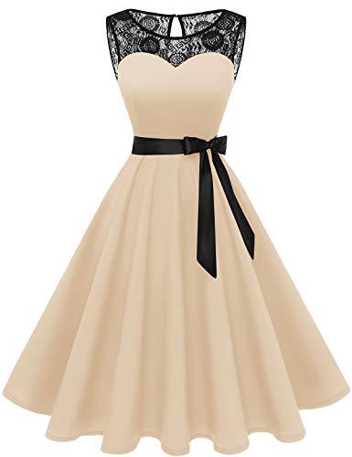 Bbonlinedress 1950er Ärmellos Vintage Retro Spitzenkleid Rundhals Abendkleid Champagne M
