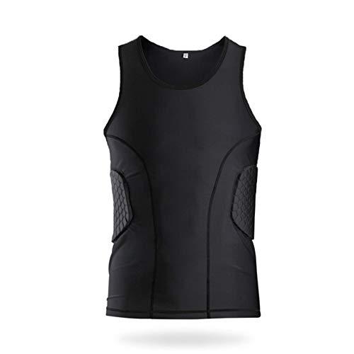 Camisas Deportivas contra la colisión Camisetas de compresión Pastillas de Hombro Protección de la Cintura Capacitación de Manga Corta Hombres Chaleco Deportivo Pant Vest-L