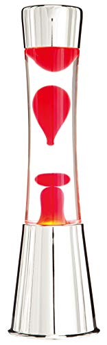 7even Lavalampe 40cm Rot & Klar/Magmaleuchte Inkl. Lampe und Leuchtmittel Tolles Retro-Geschenk aus Chrom, Glas und Licht