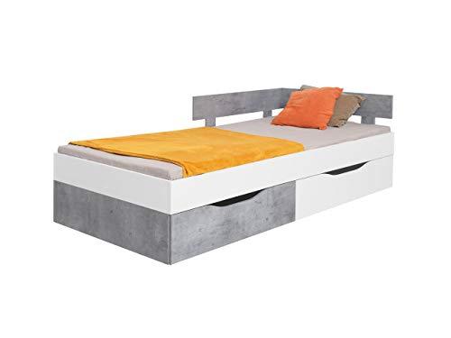 KRYSPOL Kinderbett Sigma SI16 Jugendbett mit 2 Bettschubladen und Lattenrost, Funktionsbett 120x200 cm, Jugendzimmer (Weiß Lux + Beton)