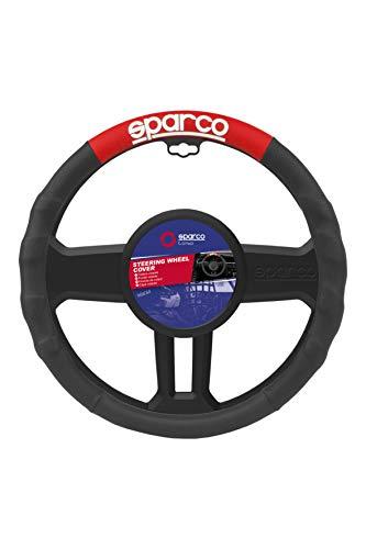 Sparco SPC1111RS Funda Universal para Volante de Coche, Negro/Rojo
