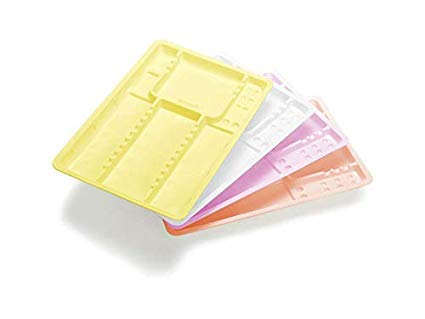 400 Vassoi strumenti colorati monouso plastica lisci o zigrinati dentista estetista (Liscio, Bianco)