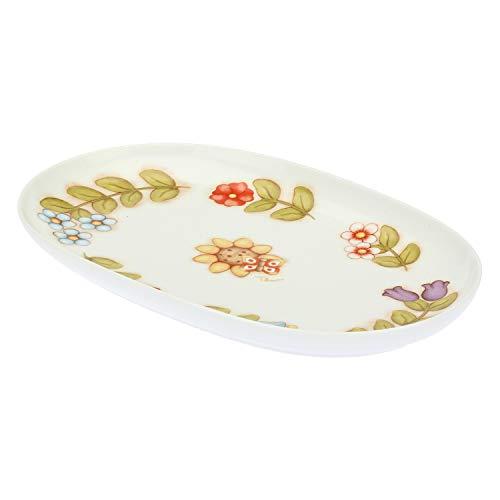 THUN ® - Piatto Ovale Country Multiuso Grande con Girasole e Farfalla - Porcellana - 33x20 cm