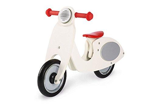 Pinolino 239414 Laufrad Vespa Wanda, Laufrad Holz, unplattbare Bereifung, Sattel 3-fach höhenverstellbar, für Kinder von 3 – 5 Jahren, cremeweiß