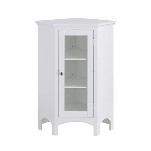 Elegant Home Fashions Madison Corner Freestanding Floor Cabinet Bathroom Kitchen Living Room Storage with 1 Glass Door 1 Adjustable Inner Shelf, White
