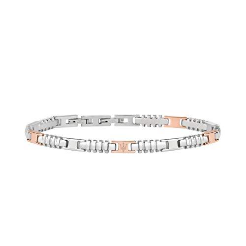 Pulsera para hombre, Colección Maserati Jewels, en acero y pvd oro rosa, ajustable con cierre a presión - JM418ANJ05