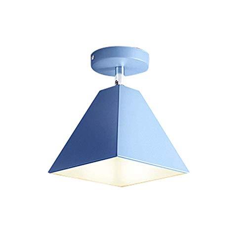 Industrielle Vintage Anhänger Deckenleuchte Schmiedeeisen Schatten Moderne Kronleuchter Universal Kopf Design Für Wohnzimmer Schlafzimmer, E27 (Farbe : Blau-4)