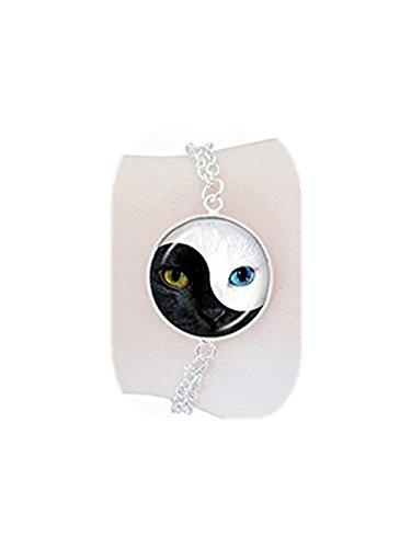 Yin Yang Cat Bracelet Animal Jewelry Black and White Glass Dome Bangles Hand Chain