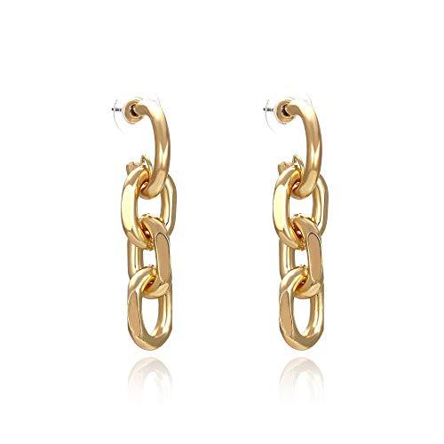 JIAJBG Pendientes de Anillo de Metal Geométricos Pendientes de Cadena Exagerados Joyería de Oreja Chapada en Oro de Moda Pendientes Extravagantes Pendientes de Perlas para Mujer Dec
