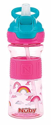 Nuby NV0414021PINK Flip-It - Vaso con pajita (tritán, mango de silicona, 360 ml, 3 años), color rosa