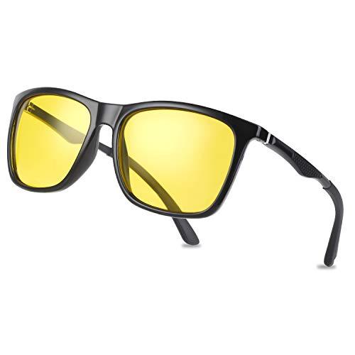 Vimbloom Lunettes De Nuit Anti Eblouissement Polarisé Pour Homme Femme Conduite De Vision Nocturne lunettes VI573 (Cadre noir avec lentille jaune)