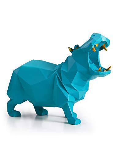 HAUCOZE Figurillas Decorativas Hipopótamo Estatuilla Dinosaurio Animales para el Hogar Regalos Souvenirs Giftbox Resina Azul 18cmL