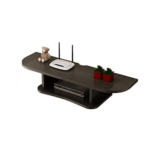XU FENG Console multimediale in Legno a Parete, mensola Mobile for componenti TV, for scatole di Cavi Router Telecomandi Lettori Dvd Console di Gioco, 2 Livelli (Color : Nero)