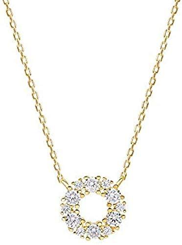 banbeitaotao Collar S925 Plata de Ley Moda Anillo Simple Anillo Colgante Conjunto de Joyas Collar de Diamantes Cadena de clavícula Femenina