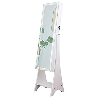 KEDLAN Mirrored Jewelry Cabinet Touch Screen Full-Length Standing LED Strip Jewelry Armoire Large Capacity 2 Drawers in Living Room or Bedroom, White