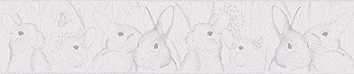 Livingwalls Bordüre Lovely Friends Kinderbordüre 5,00 m x 0,13 m grau weiß 303301