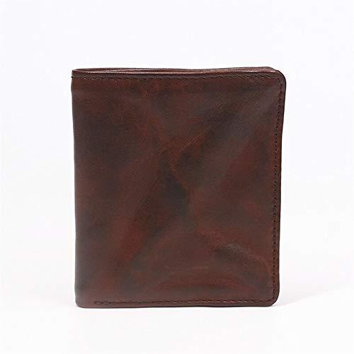 NOLOGO Wallet Männer schließen Retro zu Falten kleine Mappe Frauen Kartenhalter-Mappen (Color : Coffee)