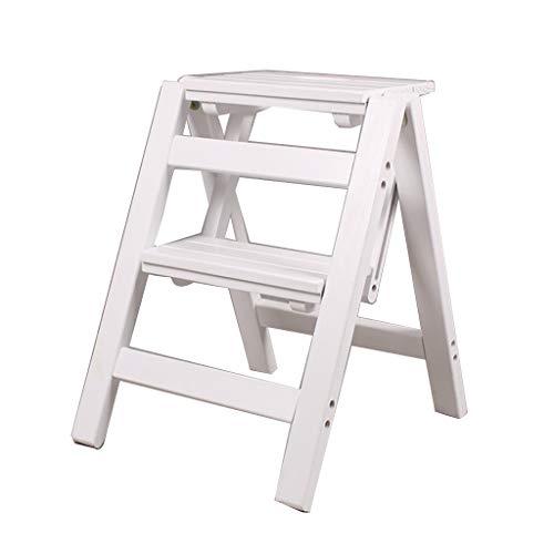 QFF Segundo marco de la escalera del piso, de madera maciza Estantería de dos pasos de escalera Salón Escabel Revista Bastidor Bastidor/zapatos/Plantación verde rack Negro blanco natural doblez
