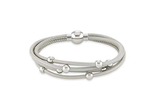Leder Schmuck (Armband) Leder Armband Farbe hellgrau Größe ca. 19 cm Edelstahl Magnetverschluss Modellnummer 1123