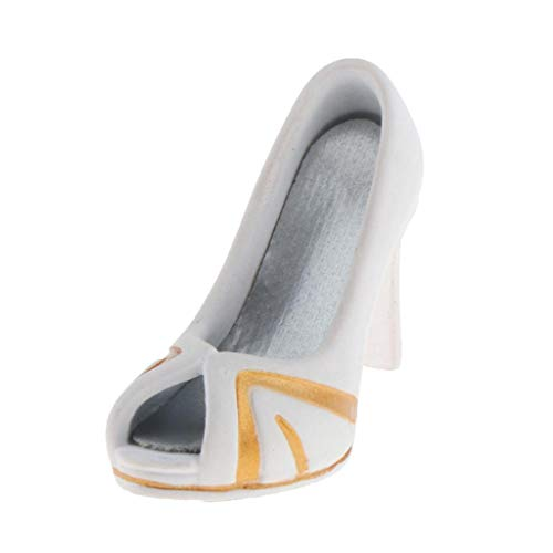 lahomia Zapatos de Tacones Altos de Mujer a Escala 1/6 para Figura de Acción Kumik de 12 Pulgadas - Blanco Dorado