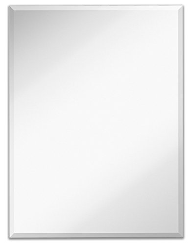 Hamilton Hills Large Simple Rectangular 1 Inch Beveled Wall Mirror | Premium Rectangle Glass Panel Vanity, Bedroom, or Bathroom Hangs Horizontal & Vertical Frameless (30' W x 40' H)