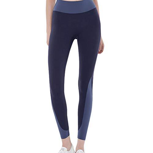 ZZAL los Pantalones Yoga Leggings de Costura de Yoga de Cintura Alta para Mujer(Size:l,Color:Negro Azul Puro)