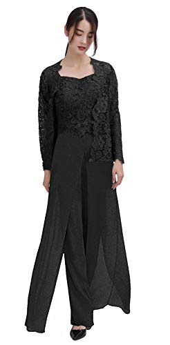 Women's Mother of Bride Groom Dress Pant Suits 3 Pieces with Lace Jacket Formal Chiffon Dress for Wedding Black