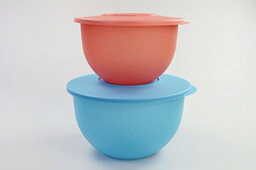 TUPPERWARE Junge Welle 4,3 L blau + 2,5 L pastellorange Schüssel Salatschüssel