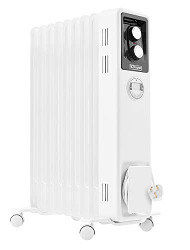 Dimplex 2kW Oil filled radiator with electronic 24 hour timer, LCD screen, thermostat and 3 heat settings, X-078070