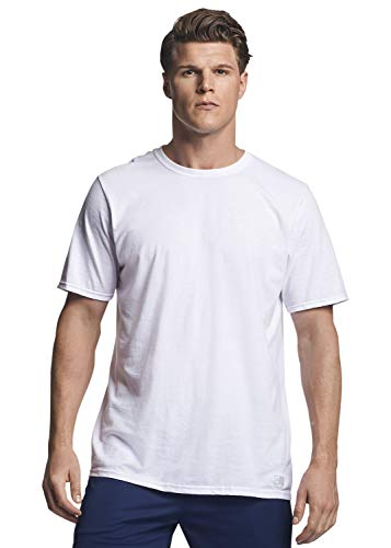 Russell Athletic Men's Cotton Performance Short Sleeve T-Shirt, white, L