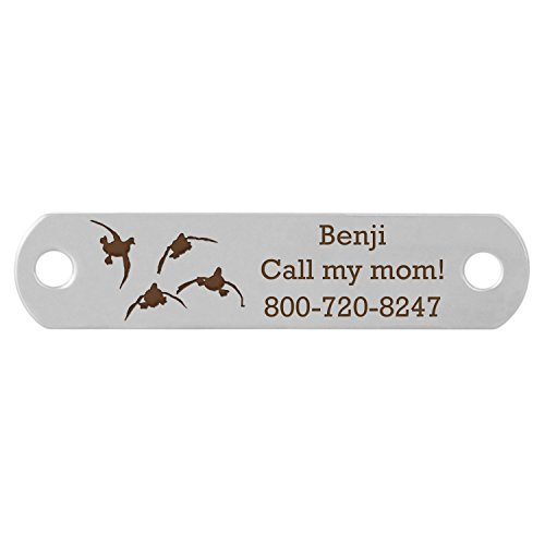 dogIDS Rivet-On Dog Collar Name Plate with Ducks Landing Design - Stainless Steel - Fits 1 Inch Wide Collar